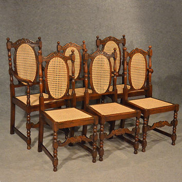 Antique Oak Chairs Set 6 Kitchen Dining Country Quality Bergere Art Dec c1950