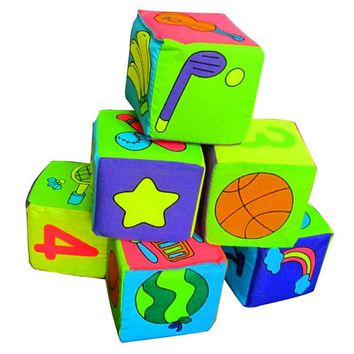 Educational Toys Cloth Dice 6 in 1 Set New Infant Baby Cloth Soft Rattle Building Blocks Toy Soft Blocks Set Cube  YH-002