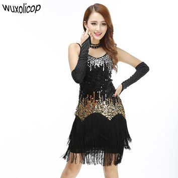 Women Bling Latin Dance Fringe Dress Sexy Rainbow Color Club Slip Gradient Sequin Dress With Tassel