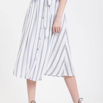 Meadow Button Front Striped Midi Skirt