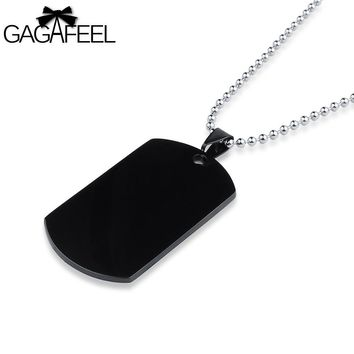 GAGAFFEL Dog Tags Military Army Cards Men Jewelry Laser Custom Engraved Logo For Men Black Stainless Steel Pendant Necklaces