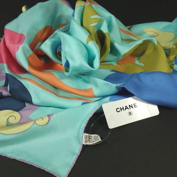 "Chanel Multicolor Turquoise Tropical Print 34"" x 34"" Square ""CC"" Silk Scarf NEW"