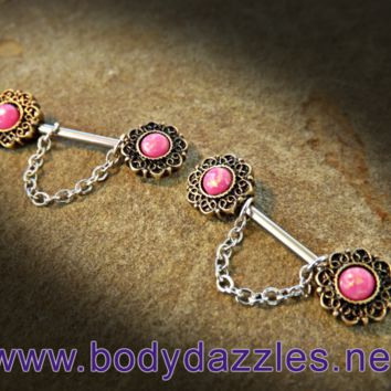 Set of Pink Opal Glitter Nipple Rings 14ga Surgical Steel Nipple Barbell Body Jewelry