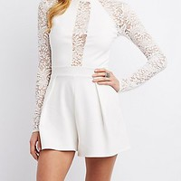 LACE SLEEVE MOCK NECK ROMPER