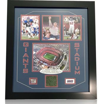 "NY ""GIANTS STADIUM"" AUTHENTIC GAME USED TURF FRAMED COLLAGE COA NEW YORK PHOTO"