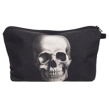 New Women Neceser Portable Make Up Bag Case 3D Printing Skull Black Organizer Bolsa feminina Travel Toiletry Bag Cosmetic Bag