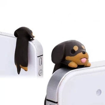 20%OFF Adorable Little Brown Dachshund Dog Puppy Pet 3.5mm Cell Phone Plug iPhone 4 4S 5 5S Dust Plug Samsung Charm Headphone Jack Ear Cap