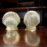Vintage  Brass Shell  Solid Brass Bookends