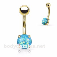 Aqua Opal Belly Ring Gold Stainless Steel 14ga Navel Ring Body Jewelry 316L surgical Stainless Steel