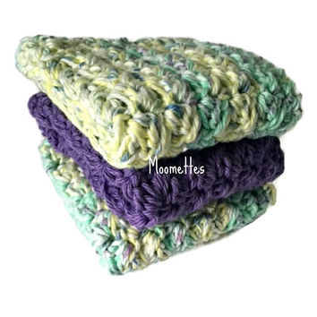 Handmade Dish Cloths Set of 3 Purple Green Yellow Delicate Pastel Wash Cloths Crochet Kitchen Dishcloths Eco Friendly Cotton