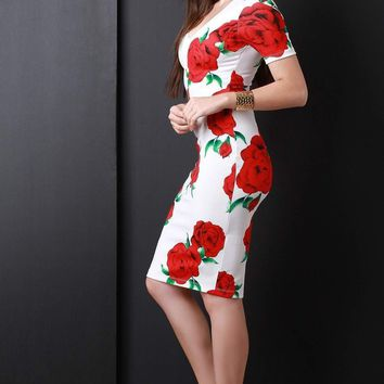 Roses Mock Choker Midi Dress