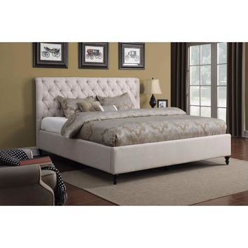 Modish Upholstered Queen Bed with Solid Wood Feet, Off White