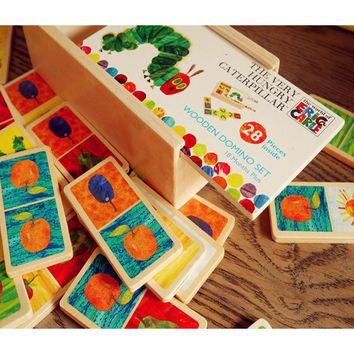 3Style Very Hungry Caterpillar Wooden Domino Set Jigsaw Puzzle the Solitaire Classic Desktop Dominoes Game Kids Educational Toy