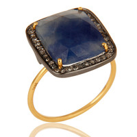 14K Yellow Gold & Sterling Silver Blue Sapphire Pave Set Diamond Stackable Ring