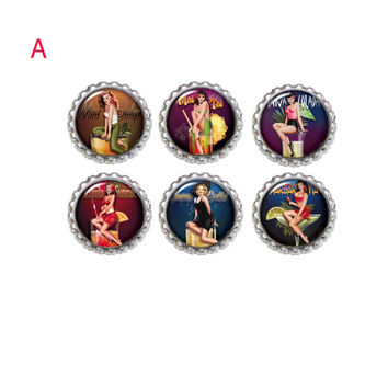 Pinup Girl Retro Magnets. Refrigerator Magnet Set of 6   Office Magnets First Home Gift, Gift Exchange, Housewarming gift
