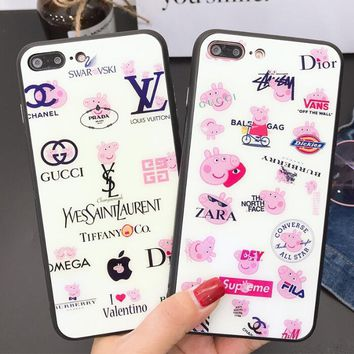 LV X Supreme Peppa Pig Popular Women Men New Cute Multiple Brands Logo Blu-Ray Tempered Glass iPhone Phone Cover Case Iphone X phone Shell 7s Iphone 8plus All-Inclusive Shell