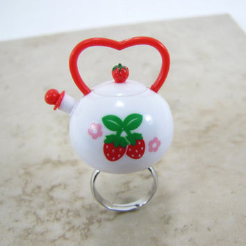 Strawberry Teapot Ring Adjustable