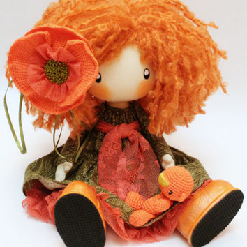 Doll Ivi redhead textile doll, cloth doll orange and green