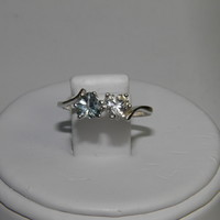 New Double Heart Sterling Silver ring Aquamarine ~ White Topaz ~ Size 7 ~ .68ctw