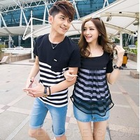 $ 12.99 Gorgeous Short Sleeve Slim Strip Couple Outfits