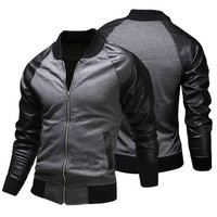 Slim Fit Men's Fashion Varsity Jacket with Leather Sleeve