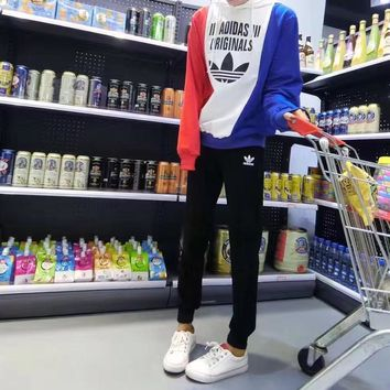 """""""Adidas"""" Women Casual Personality Multicolor Letter Print Hooded Long Sleeve Sweater Trousers Set Two-Piece Sportswear"""