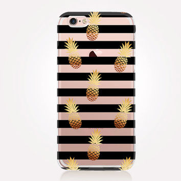 Transparent Pineapple iPhone Case - Transparent Case - Clear Case - Transparent iPhone 6 - Samsung S7 - Soft TPU - Gel Case - iPhone SE