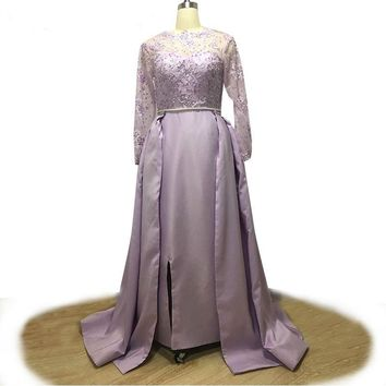 Light Purple Satin Long Sleeve Evening Dress Beading Appliques Prom Gown Removable Train Party Dresses