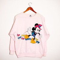 Unique Vintage Pastel MICKEY MOUSE Sweatshirt. Large. Disney. Classic Mickey Mouse. 80s.