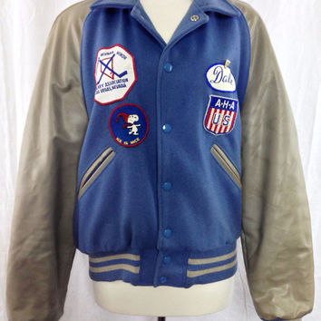 Vintage 70s HOWE Athletic Apparel Letterman Hockey Jacket
