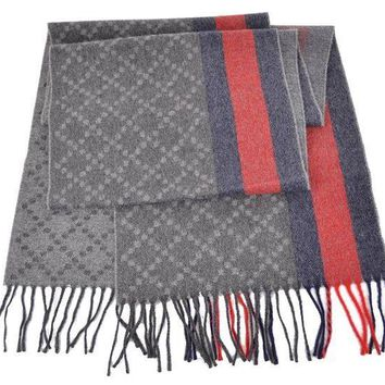 CREYWA2 Gucci 333019 Men's Angora Wool Web Stripe Diamante Scarf O/S Grey Blue Red