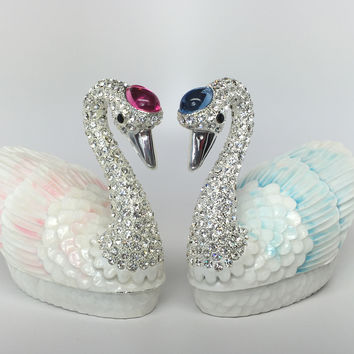 Promise of Love Jewelry Storage Boxes with a Loving Pair of Swans