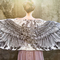 Women scarf, Hand painted Wings and feathers, stunning unique and useful, perfect gift