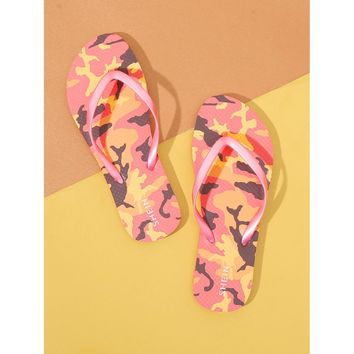 Camouflage Pattern Toe Post Slippers