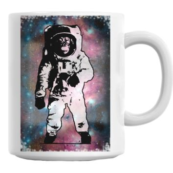 Monkey Astronaut Galaxy Mug