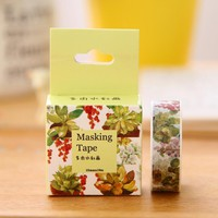 1.5cm Wide Watercolor Painting Succulent Washi Tape Adhesive Tape DIY Scrapbooking Sticker Label Masking Tape