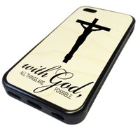 For Apple iPhone 5C REAL MAPLE WOOD WOODEN Case Cover Skin God Jesus Cross Reliqious DESIGN BLACK RUBBER SILICONE Teen UNIQUE CUSTOM Gift Vintage Hipster Fashion Design Art Print Cell Phone Accessories