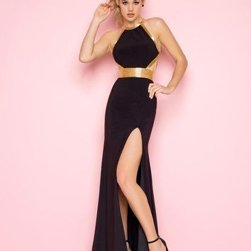 Mac Duggal - 40518 Halter Fitted Long Dress with Slit