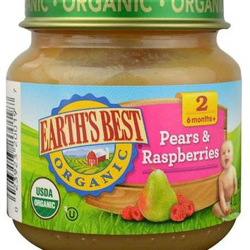 Earth's Best Organic Pears And Raspberries Baby Food - Stage 2 - Case Of 12 - 4 Oz.