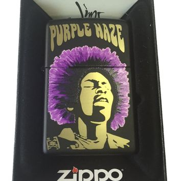 Zippo Custom Lighter - Jimi Hendrix Rock Star Purple Haze Black Matte 218-CI402373