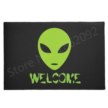 Autumn Fall welcome door mat doormat Funny Black Alien Head Welcome Mats for Front Door Novelty Green Space Alien  Entrance Floor Geek Rug Carpet Home Decor AT_76_7