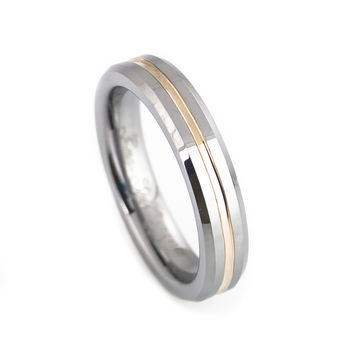 Cute tungsten wedding ring with rose gold 3c2dfd449