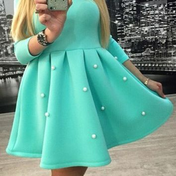 Casual Pearl Decorated Three Fourth Sleeve Pleated Mini Dress