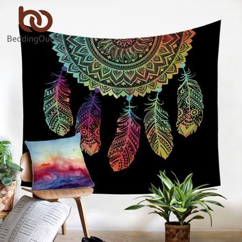 Dream Catcher Tapestry Boho Printed Wall Hanging Feathers Art Carpet Bohemian Decorative Tapestry