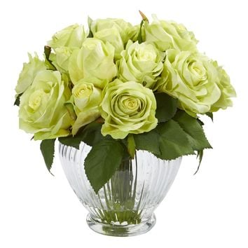 Artificial Flowers -9 Inch Green Rose Floral Arrangement In Elegant Glass Vase
