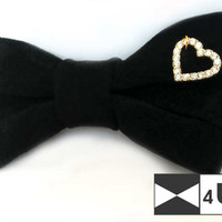 Black Leather Bow Tie Bowtie with heart Real Suede Necktie Fancy Special Wedding Bow Tie Groomsmen Bow Tie Man Men Lady Dickie Bow Gift OOAK