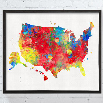 Usa Map Wall Art, Usa Map Poster, United States Wall Art, United States Map, Watercolor USA Map, Framed Print, Custom Colors, Gift Idea