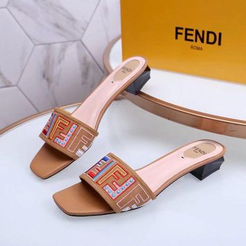 DCCK Fendi Women's Leather Fashion Mid-heeled Sandals