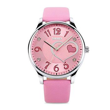Girls Analog Watch Fashion Lady Quartz Wrist Watch Leather Strap Big Face Fun Cute Watches with Lovely Heart Shape Water Resistant  Pink