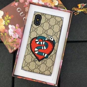 GUCCI Fashion Women Men Embroidery Heart Snake Mobile Phone Case For iPhone X I12702-1